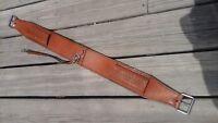 Medium oil leather Western saddle flank cinch center strap w/basket stamping