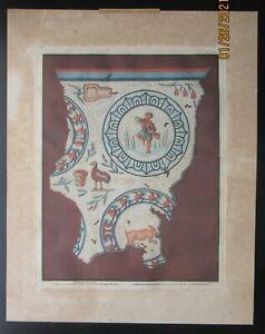 1806 Antique Engraving Print Aquatint Roman Mosaic Tile Seasons A. Laborde