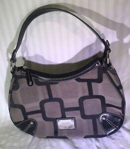 Nine West Purse Handbag Brown Bag Women Geometric Pattern Leather Tote
