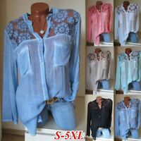 Women's Blouse Long Sleeve Shirt Casual Lace Loose Casual Tops Plus Size S-5XL