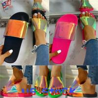 Fashion Women Casual Slippers Ladies Transparent Colorful Sandals Beach Shoes US