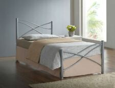 3ft Single Modern Metal Bed Frame in Silver, White or Pink with Mattress Options