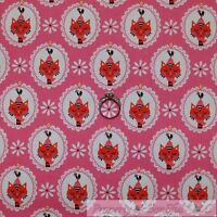 BonEful Fabric FQ Cotton Quilt Pink White Red Yellow VTG Kitty Cat Rooster Retro