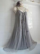NEXT 14 Vintage 1920s Grey Deco Bead Flapper Charleston Gatsby Beach Cover DRESS