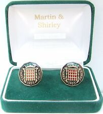 1953 Threepence cufflinks from real coins Black & Gold