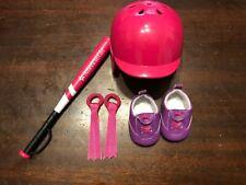 American Girl Doll Pink Softball Helmet Bat Cleats Sneakers and Hair Ribbons