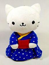 "San-X Nyan Nyan Nyanko BIG White Cat Kimono Plush Doll Beanbag Japan TAG 10.8"""
