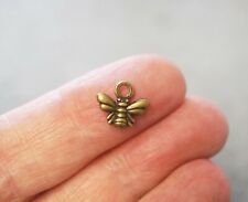 15 small Bee Charms, Bee Pendants - Antique Bronze  - 10mm