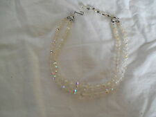 Lovely vintage faceted AB crystal beaded two strand necklace 15""