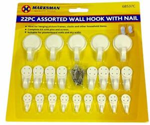 22 Pcs Plastic Wall Hooks with Nails And Screws Assorted Sizes White Hooks