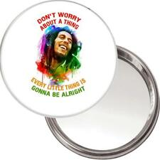 "Neuf Unique Bouton Miroir. Image de Bob Marley "" Don'T Worry About A Chose """