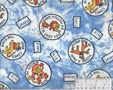 Vintage Novelty Print Fabric Animal Badges Going Ape I'm Lost 44x28 F1308