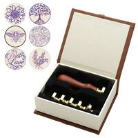 6pcs Brass Head Classical Bee With Love Wax Seal Sealing Stamp Letter Card Set