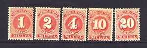 "CHILE J43-J47 Set Numeral of Value ""Postage Due"" 1898"