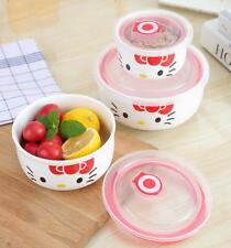 Cute 3-piece For Hello Kitty Ceramic Bowl Fruit Food Storage Containers Set Red