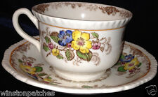 RIDGWAYS ENGLAND APPLE BLOSSOM FLAT CUP & SAUCER 10 OZ BLUE YELLOW FLOWERS