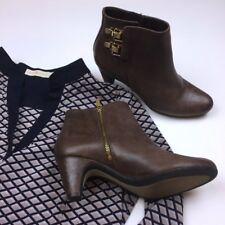 9c32855b76d99 Sam Edelman Marmont Leather Brown Booties Double Buckle Side Zip Sz 7.5