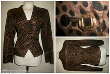 "~ FAB VINTAGE 1980S 80S ANIMAL FLOCK PRINT SPARKLE FITTED JACKET 38"" BUST ~"