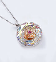 Silver Heart Open Locket Rose Flower Pendant + Necklace Chain H42