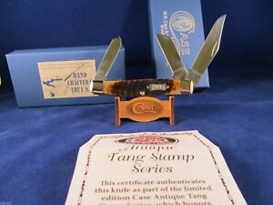 Case Tested Antique Tang Stamp Stockman Knife Brown Bone Mint In Box CA44751