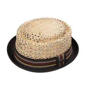 Jake Natural Mens Womens Summer Retro Straw Telescope Skimpy Brim Porkpie Hat