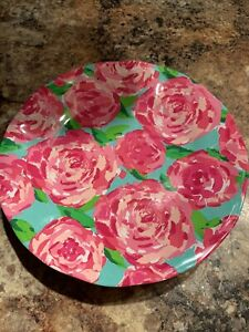 Lilly Pulitzer pink floral print melamine plates set of 4