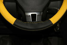"""New 14.5"""" Black & Yellow Steering Wheel Cover Wrap PVC Leather 47017 Sew On Kit"""