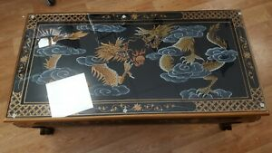 Chinese Oriental Black Lacquer Coffee Table with Dragon Design. Hand made