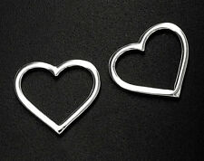 925 Sterling Silver 2 Heart Links, Connectors 12.3x14 mm.