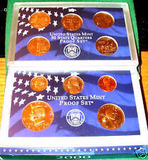 2000-S 10 COIN US PROOF SET INCLUDING 5 STATE QUARTERS