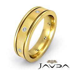 Diamond Men Eternity Unique Wedding Band 18k Yellow Gold Center Brush Ring 0.2Ct