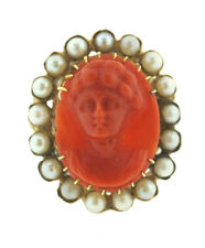 VICTORIAN C.1900 ANTIQUE CARVED CORAL PEARL PORTRAIT OVAL RING 14K YELLOW GOLD