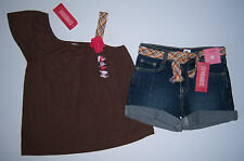NWT Gymboree Glamour Safari Sz 6 Corsage 1-Shoulder Top Belted Denim Jean Shorts
