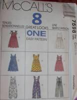 7598 Vintage McCalls SEWING Pattern Little Girls Jumper Jumpsuit UNCUT Spring
