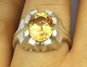 Solid 925 Sterling Silver Citrine Gemstone Father Gift Boys Mens Ring