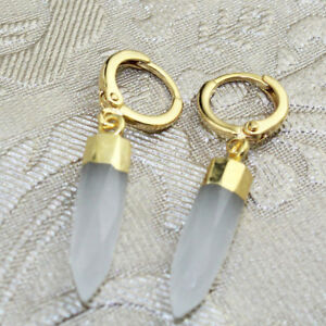 Pencil Chalcedony Opalite Amethyst Gold Plated Clip On Earrings Womens Jewelry