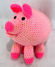 """Crocheted Knitted Pig Pink Stuffed Animal Plush Toy 9""""long x 9"""" tall"""