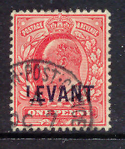 """GB BRITISH LEVANT 1905 Edward VII 1D red with overprint-VARIETY """"LEVANT"""", RR!!"""