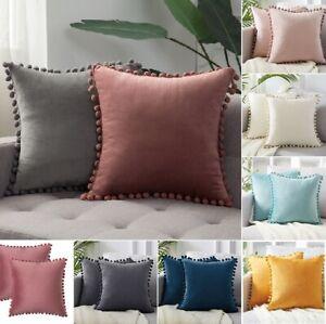 Soft Velvet Cushion Cover Pom Poms Home Decorative Sofa Car 18 x 18 Pillow Case