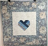 "Heart Pieced Quilt Wall Hanging 20""X 20"" Blues Grays & White Handmade"