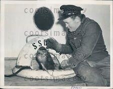 1941 SS Otho Ship Boatswain J Delany With Pet Monkey Press Photo