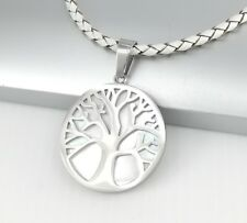 Silver Tree Of Life Shell Pendant White Braided Leather Cord Choker Necklace