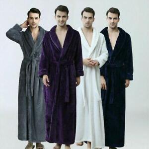 Men Women Bathrobe Long Fleece Dressing Gown Luxury Winter Housecoat Robe New AU