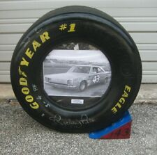 Richard Petty Autographed Race Used Nascar Issued Goodyear Tire Photo & Chock
