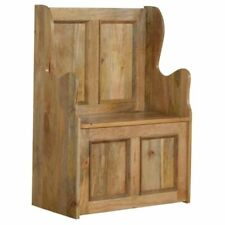 Solid Wood Small Hallway Monks Bench : Storage : Oak Finish