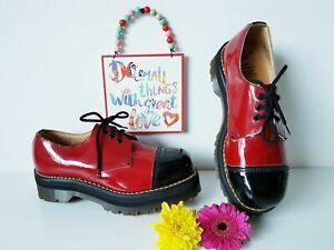 Dr Martens platform chunky toe red black vintage england patent UK 7 EU 41 US 9