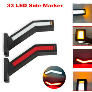 2x Car LED Side Marker Light Outline Lamp For Trailer Truck Van 12-24V Indicator