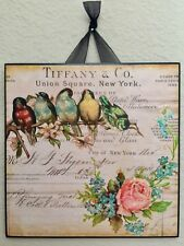 Tiffany & Co. Birds Roses Plaque #1 Wall Decor French Country Cottage New York