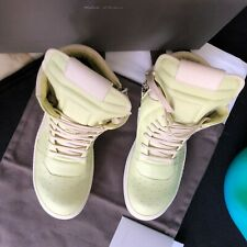 RICK OWENS Hi-Top Geobasket Sneakers - Leather Lime / Milk size 42