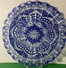 Blue Morocco Decorative Plate Serving Dish  Ripples Bohemian Decor